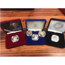 SILVER PROOF BRITISH COMMEMORATIVE COIN COLLECTION ( 3 CASED COINS & TWO EXTRA)