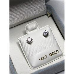 14KT GOLD WHITE SAPPHIRE EARRINGS