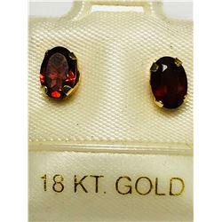18KT GOLD GARNET EARRINGS