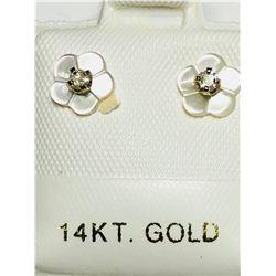 14KT GOLD DIAMOND (0.10CT) 2 IN 1 EARRINGS W/ SCREWBACKS