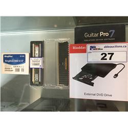 EXTERNAL DVD DRIVE, GUITAR PRO 7 SOFTWARE, KINGDIAN 32GB S100 SSD DRIVE, 2 RAM MODULE STICKS