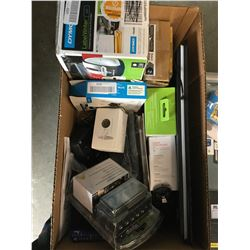 BOX OF ASSORTED ELECTRONICS, LABEL WRITER, GAMING KEYBOARD, HOUSE PHONES, ETC