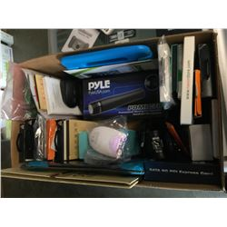 BOX OF ASSORTED ELECTRONICS, PHONE ACCESSORIES, MISC