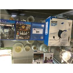 3 ASSORTED PLAYSTATION 4 GAMES & TURTLE BEACH RECON 50P HEADSET