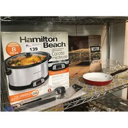 HAMILTON BEACH SLOW COOKER, WESTON THREE TIER NON STICK DRYING RACK, TWO-PIECE BBQ TOOLSET, COOKING