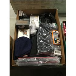 BOX OF ASSORTED CLOTHING, RECORDS, HOUSEHOLD ITEMS