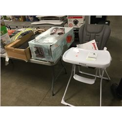 MOBLORG PLUG N GO CENTER CONSOLE, NIGHT STAND (NEEDS REPAIR), JOOVY NEW NOOK HIGH CHAIR