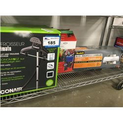CONAIR ULTIMATE FABRIC STEAMER, SCOTCH PRO THERMAL LAMINATOR, WET/DRY CANISTER VAC