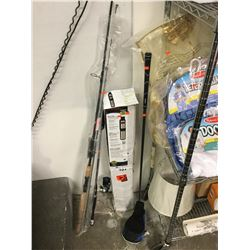 RED LION DEEP WELL SUBMERSIBLE PUMP, DAMAGED FISHING RODS, GOLF CLUB
