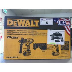 NEW DEWALT DCK292L2 20-VOLT MAX LI-ION 3.0 AH HAMMER DRILL & RECIPROCATING SAW SET