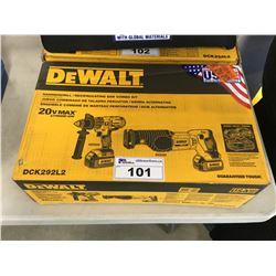 NEW DEWALT DCK292L2 20-VOLT MAX LI-ION 3.0 AH HAMMER DRILL & RECIPROCATING SAW SET