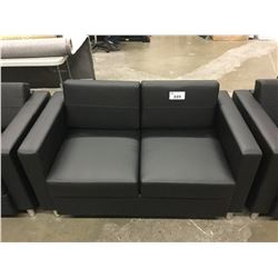BLACK FAUX LEATHER 2 SEATER LOVE SEAT