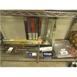 SHELF LOT OF ASSORTED TOOL RELATED ITEMS