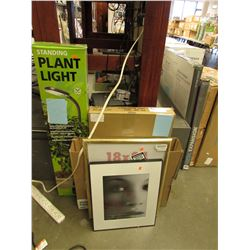 STANDING PLANT LIGHT, SHOE RACK, PICTURE FRAMES, MISC