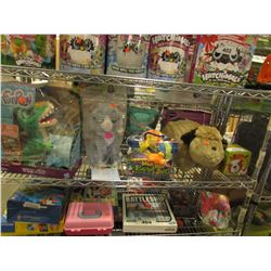 SHELF LOT OF ASSORTED KIDS TOYS & STUFFIES