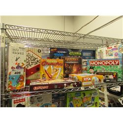 SHELF OF ASSORTED TOYS & BOARD GAMES