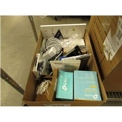 BOX OF ASSORTED PHONE ACCESSORIES, GAME, TP-LINK WIRELESS DEVICES, ETC
