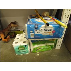 LOT OF PAPER TOWEL, DUSTER, ANTI-THEFT WHEEL LOCK DEVICE