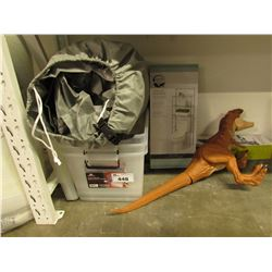 PLASTIC TOTES, BATHROOM SPACE SAVER, DINOSAUR TOY, DRYING RACK, CAR COVER