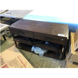 "46"" WOOD FINISH TV STAND WITH TWO DRAWERS"