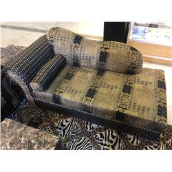 GOLD PATTERNED SOFA SET INCLUDING SOFA, LOVE SEAT AND CHAISE LOUNGE