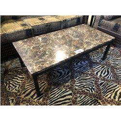 FAUX STONE TOP COFFEE TABLE WITH TWO SIDE TABLES