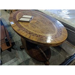 THE HISTORY OF AMERICA TABLE WITH INFORMATION PLAQUE - MADE FROM 4000 U.S.A. GROWN WOODS