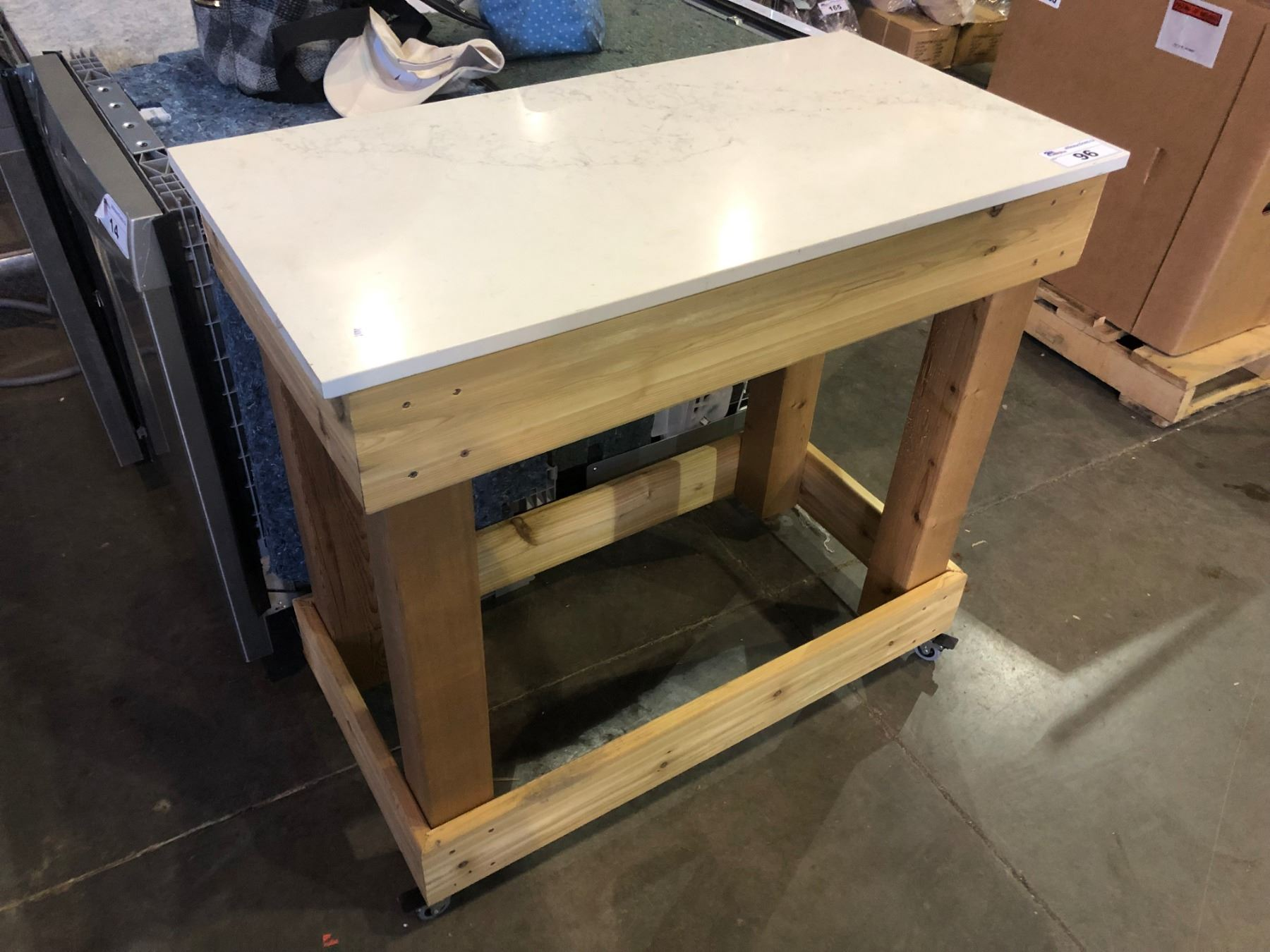 Stone Top Rolling Kitchen Island Able Auctions