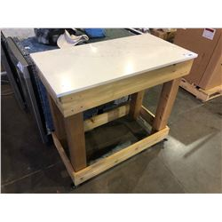 STONE TOP ROLLING KITCHEN ISLAND