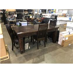 6' DARK WOOD DINING TABLE WITH FOUR CHAIRS