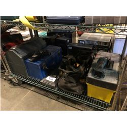 SHELF LOT OF ASSORTED TOOL BOXES, AMP, CORDLESS POWER TOOLS & MORE