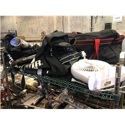 SHELF WITH HOCKEY BAG, TENNIS RACKET, FAN & MORE
