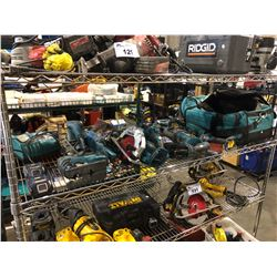 SHELF OF ASSORTED MAKITA POWER TOOLS & TOOL BAG