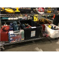 SHELF LOT OF ASSORTED FLUIDS, TOOL BOXES, TOOLS & MORE