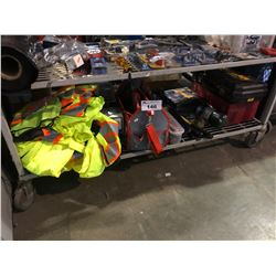 SHELF WITH ASSORTED SAFETY VESTS, TOOL CADDY, HAND TOOLS & MORE