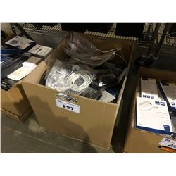 BOX OF ASSORTED CORDS & CABLING