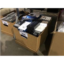 BOX OF ASSORTED LIGHTNING CABLES, WALL ADAPTERS & MORE