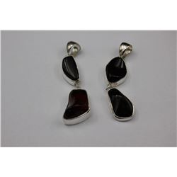 TWO AMBER DOUBLE DROP PENDANTS, CHERRY-RED FIRE, SET IN 0.925 STERLING SILVER, WITH CANADA STAMP