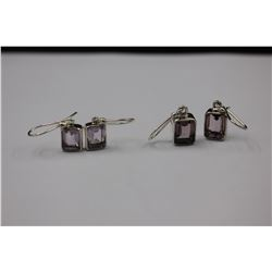 TWO PAIRS OF AMETHYST EARRINGS, LARGE EMERALD CUTS, LILAC COLORS, SET IN 0.925 STERLING SILVER