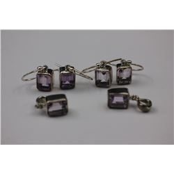 TWO EMERALD CUT AMETHYST EARRING AND PENDANT SETS, BRIGHT LILAC COLOR, SET IN STERLING SILVER