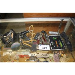 LOT INCLUDING ASSORTED KNIVES, LIGHTERS, SLINGSHOTS AND A MAGNIFYING GLASS