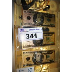 THREE NOVELTY GOLD U.S. $100 BILLS