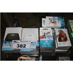 TWO HP SPROCKET 2X3  PHOTO PRINTERS AND ASSORTED 2X3  PHOTO PAPER