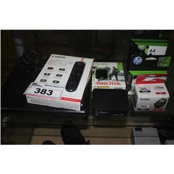 LOT INCLUDING PORTABLE DVD PLAYER, ASSORTED INK, RED LASER WIRELESS PRESENTER AND MORE