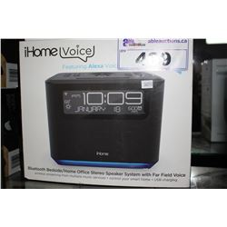 IHOME VOICE FEATURING ALEXA VOICE SERVICE BLUETOOTH BEDSIDE/ HOME OFFICE STEREO SPEAKER SYSTEM WITH