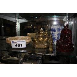 3 CARVED BUDDHA FIGURES, STONE ASHTRAY, AND VASE