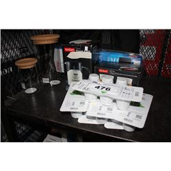LOT INCLUDING ASSORTED BODIUM KITCHEN SUPPLIES, COLEMAN SOLAR BATTERY MAINTAINER, CLICK AND GROW