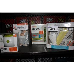 LOT INCLUDING BOON ORB, ERGOBABY BABY CARRIER, ANGELCARE BABY MONITOR AND BOON GRASS DRYING MAT
