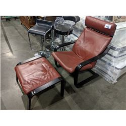 RED PADDED LOUNGE CHAIR WITH MATCHING OTTOMAN
