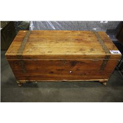 WOODEN TRUNK WITH CONTENTS - HINGE DAMAGE